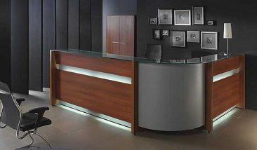 Purpose built corner unit reception counter