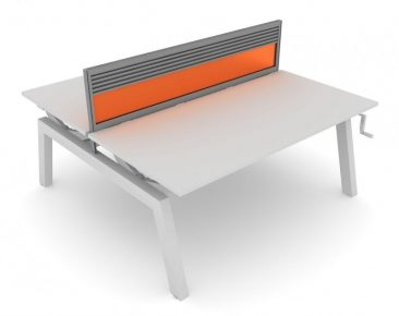 Elevate height adjustable bench workstation with toolrail and acrylic screen