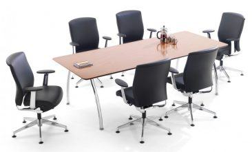 Intrigue meeting table with Enigma executive chairs