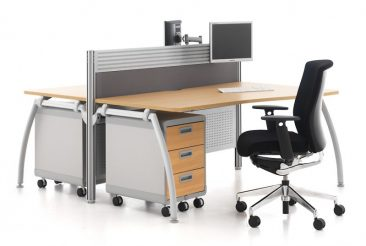 Intrigue single wave desks with toolrail screen