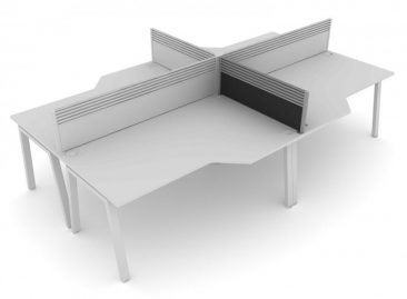 Linnea angular workstations with toolrail screens