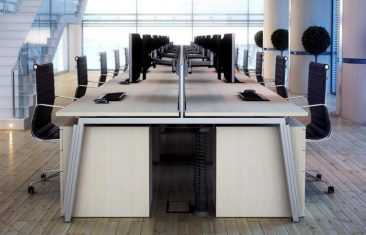 Linnea sliding top bench system with Enna office chairs