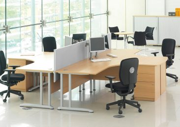Pulsar radial desks with fabric screens