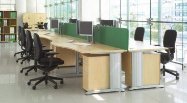 Pulsar single wave desks with fabric screens