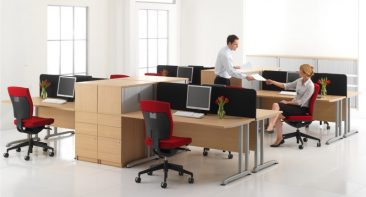 Pulsar straight desks with fabric screens and pedestal top box storage