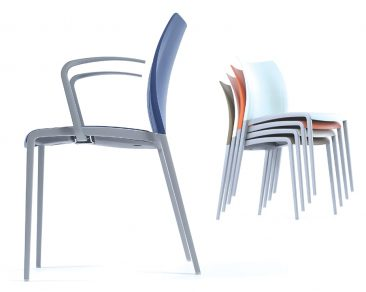 Aura armchair and stacked side chair