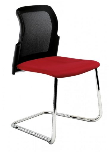 Leola cantilever side chair upholstered seat mesh back