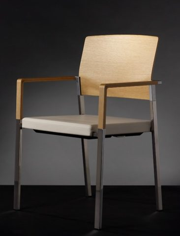 Zenith armchair upholstered seat wooden arms and back