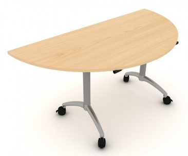 Modular D end flip top table
