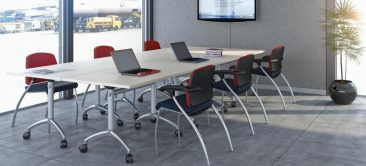 Modular flip top tables linked together