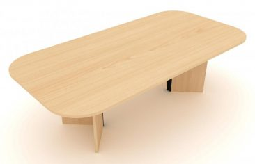 Windsor soft rectangle meeting table with arrowhead base