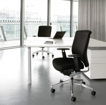 Enigma office chair with polished components