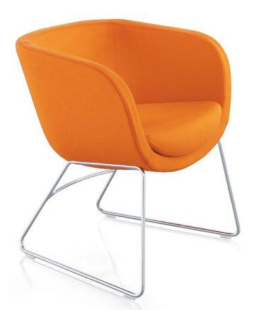 Karma chair with skid frame base